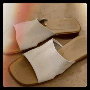 White Leather Flats